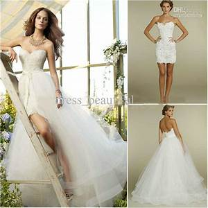 new sweetheart two piece design lace short mini bridal With short wedding dresses with train