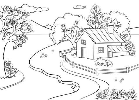 18 contoh mewarnai gambar pemandangan alam indah broonet
