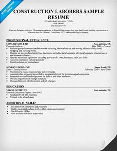 resume for laborer in construction http topresumeinfo With construction resume writers