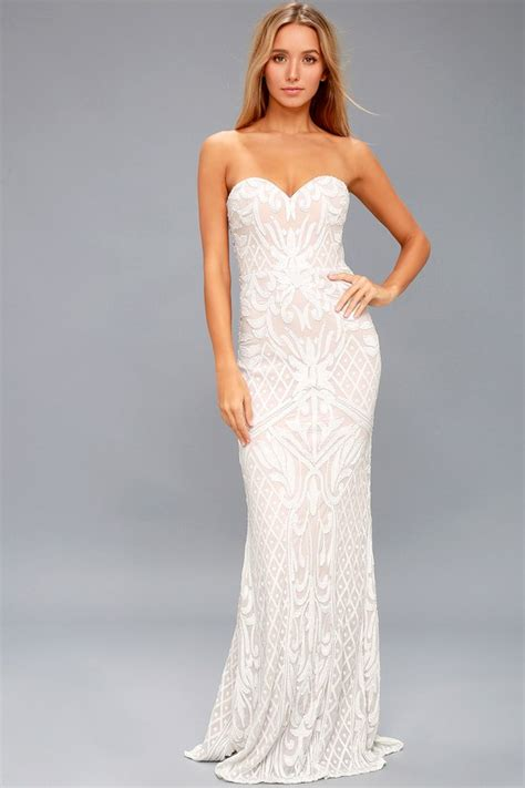 white sequin dress strapless gown sequin maxi dress