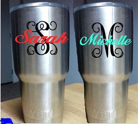 diy monogram  decal  yeti rambler colster monogram initial   tumblr decal