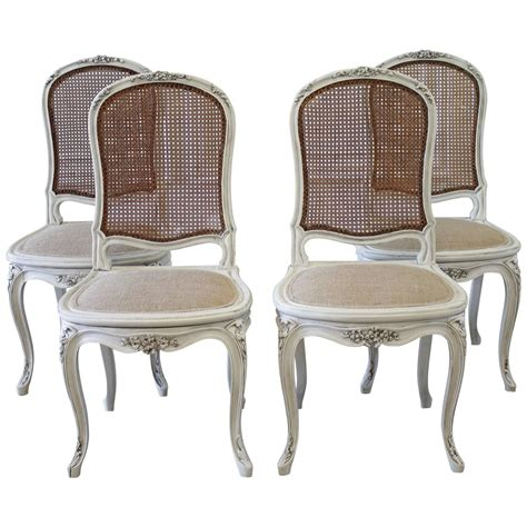 set of four louis xv style painted back dining