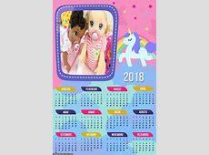 Calendário Unicórnio Rosa 2018 Foto Molduras