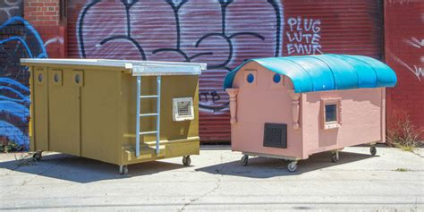 artist converts trash  compact mobile homes