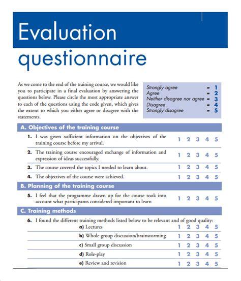 Evaluation Questionnaire Template 15 sle evaluation forms pdf sle templates