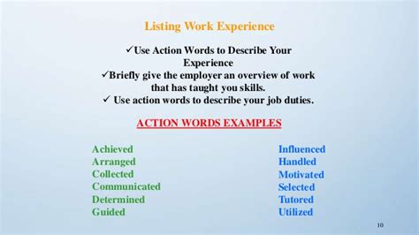 resume buzzwords list