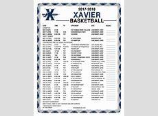Printable 20172018 Xavier Musketeers Basketball Schedule