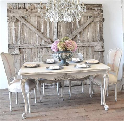 Soothing Shabby Chic Dining Room With White Walls And