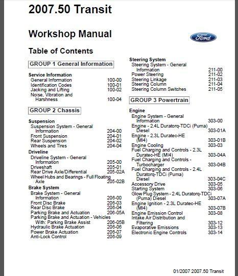 ford transit tourneo  workshop service repair manual