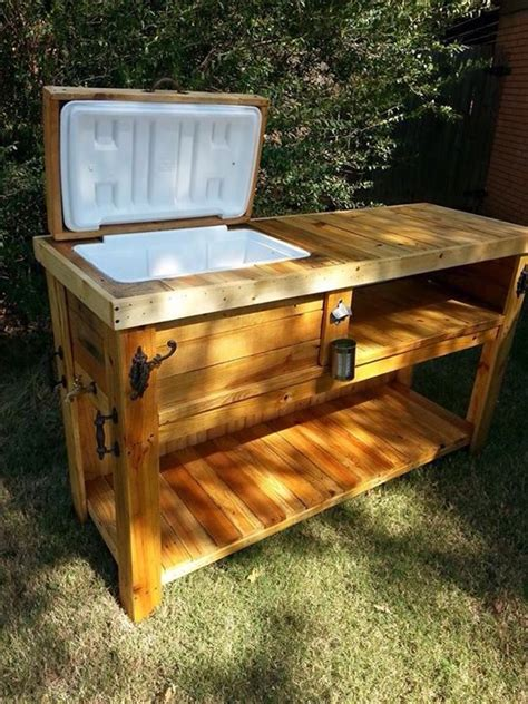 Wooden Ice Chest Patio Bar  Angel & Outlaw Creations