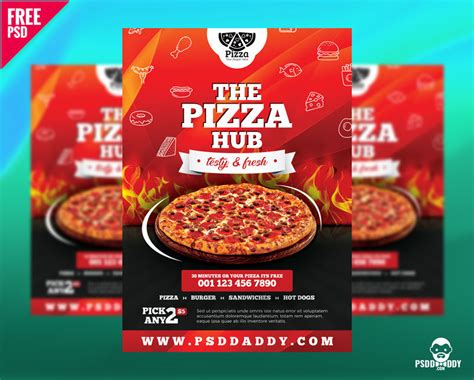 pizza hub  flyer template psddaddycom