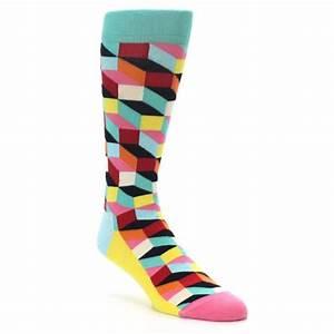 Teal Bright Multi Color Optical Men's Dress Socks Happy