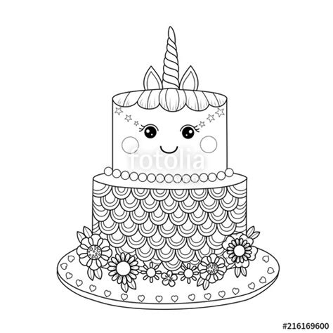 coloring pages unicorn cake