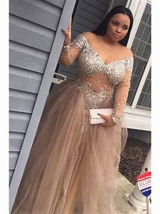 Long sleeves v neck beaded plus size prom dresses party for Plus size beaded wedding dresses