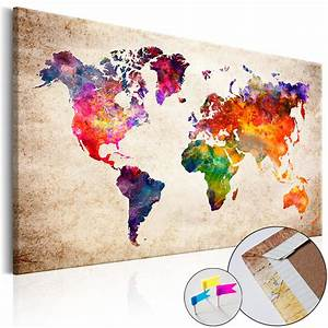 Weltkarte Auf Pinnwand : leinwandbilder xxl pinnwand innovation kork leinwand bild weltkarte pwb0044 ebay ~ Markanthonyermac.com Haus und Dekorationen