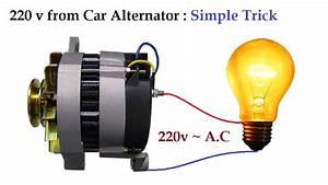 220v To 300v Ac From 12v Car Alternator At Low Rpm Amazing