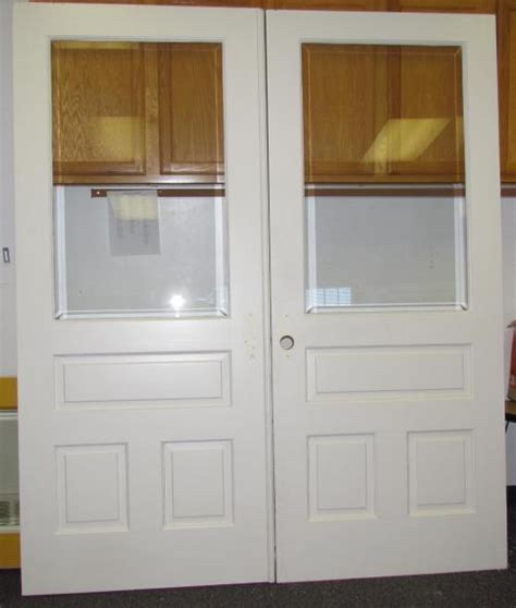 solid wood french doors  beveled glass interior
