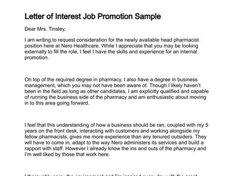 letter  interest job promotion sample letter  interest