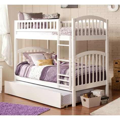 richland twin over twin bunk bed urban trundle white