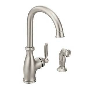 shop moen brantford spot resist stainless 1 handle high arc kitchen faucet with side spray at