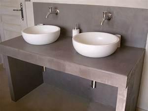 beton cire gris chartreux betoncire beton cire et With meuble beton cire salle de bain