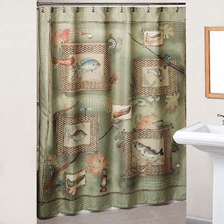 fish shower curtain fishing shower curtains and hooks set walmart