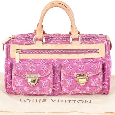 louis vuitton pink denim neo speedy bag lv bags  charmbags  charm
