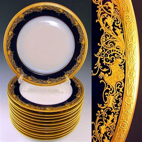 french limoges porcelain gold encrusted raised gilt enamel cobalt blue  dinner plates