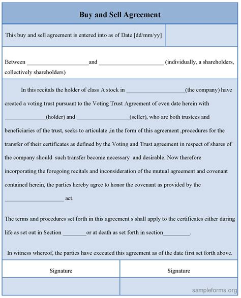 buy  sell agreement form sample forms