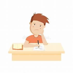 Bored Kid Doing Homework Or Sitting On Boring School ...