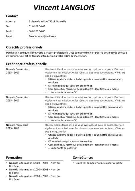 Mode De Cv Gratuit by Exemple De Cv Sans Photo Gratuit 224 T 233 L 233 Charger