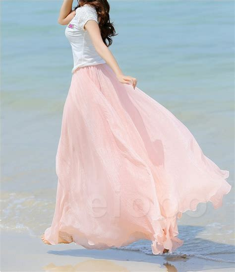 Baby Pink Dancing Maxi Skirt Girls Candy Sweet Skirts For
