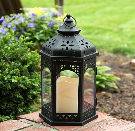 outdoor battery operated flameless gazebo candle lantern
