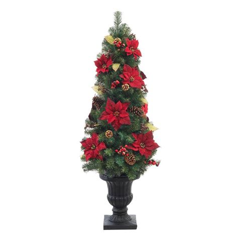 5 ft unlit burgundy poinsettia potted artificial