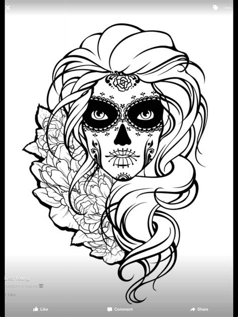 Pin about Skull coloring pages, Sugar skull tattoos and Adult coloring book pages on Sugar Skull