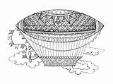 Airship Coloring Vector Dirigeable Dessin Adults Dirigibile Vettore Vecteur Coloritura Adulti Gli Among Dirigible Illustrations Illustrazione Lines Lace Colorare Zentangle sketch template