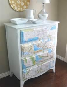 Map Decoupage Dresser