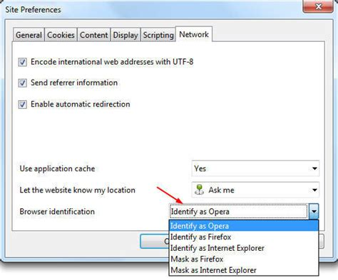opera string agent user browser spoof settings ok save