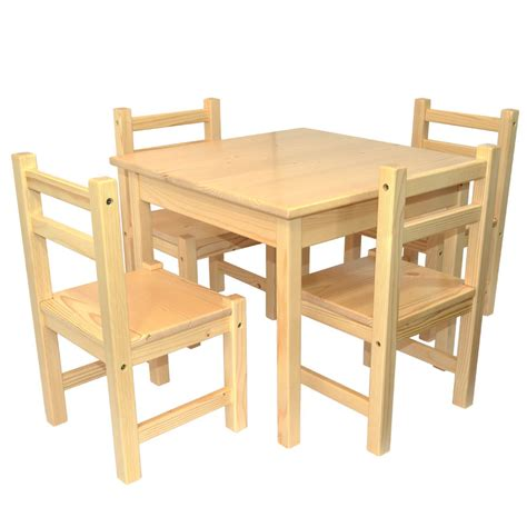 childrens furniture solid pine set of 5 one table and four