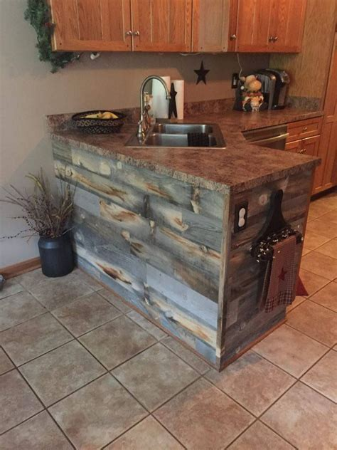 rustic kitchen island  stikwood reclaimed wood