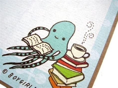 octopus book labels of 6 book stickers book lover gift