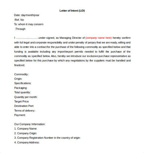 letter  intent construction template  common