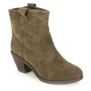 nina grey suede western style ankle boot