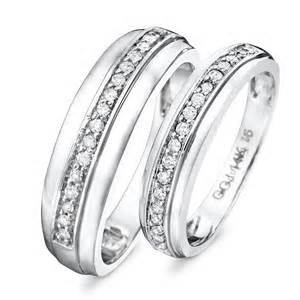 his and hers wedding rings white gold 1 3 ct t w his and hers wedding rings 14k white gold my trio rings wb114w14k