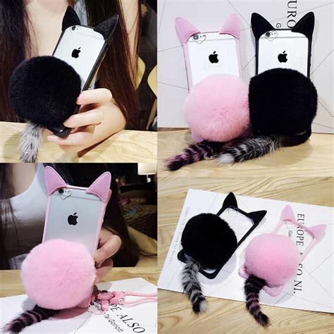 iphone 7 7plus womens 3d fur cat ears clear tpu phone cover ebay