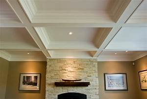 Coffered Ceiling/Box Beam Mantle/Wainscoting