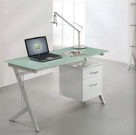 white computer desk with glass top foxhunter computer desk table with glass top 2 drawers