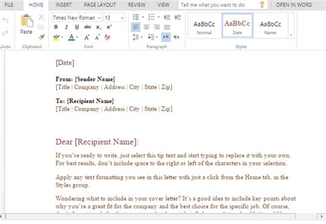 Formal Business Letter Template For Word