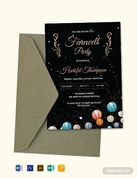 farewell party invitation template word psd