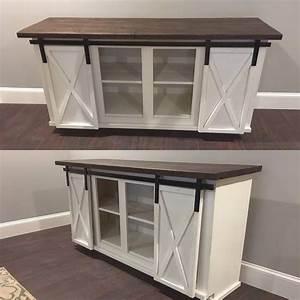 custom sliding barn door bar cabinet With buffet table with sliding doors